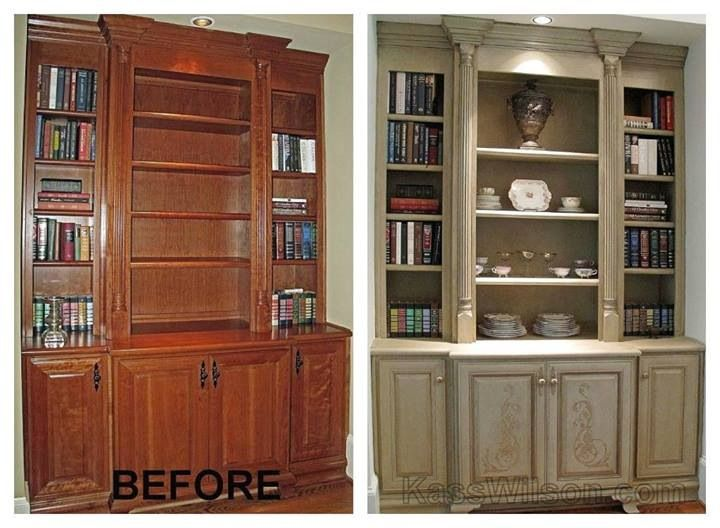Before And After Painted Entertainment Center  Upstairs Bookshelves  Too.(Color And The Trim