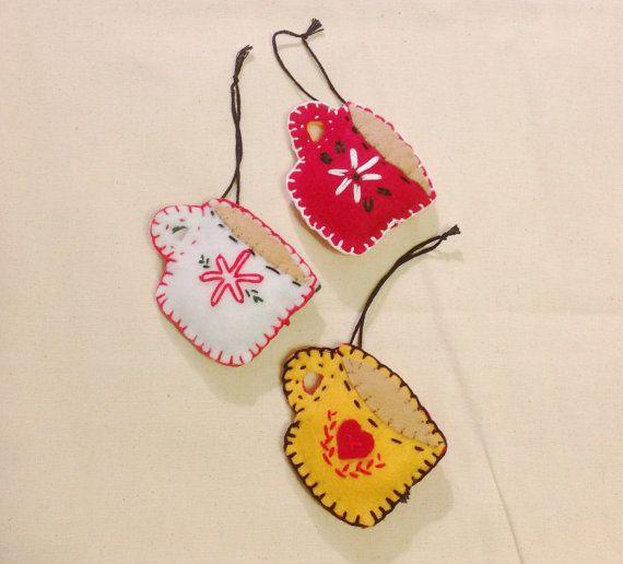 Coffee or Tea Mug Felt Embroidered Handmade Ornament by PhoebeMade
