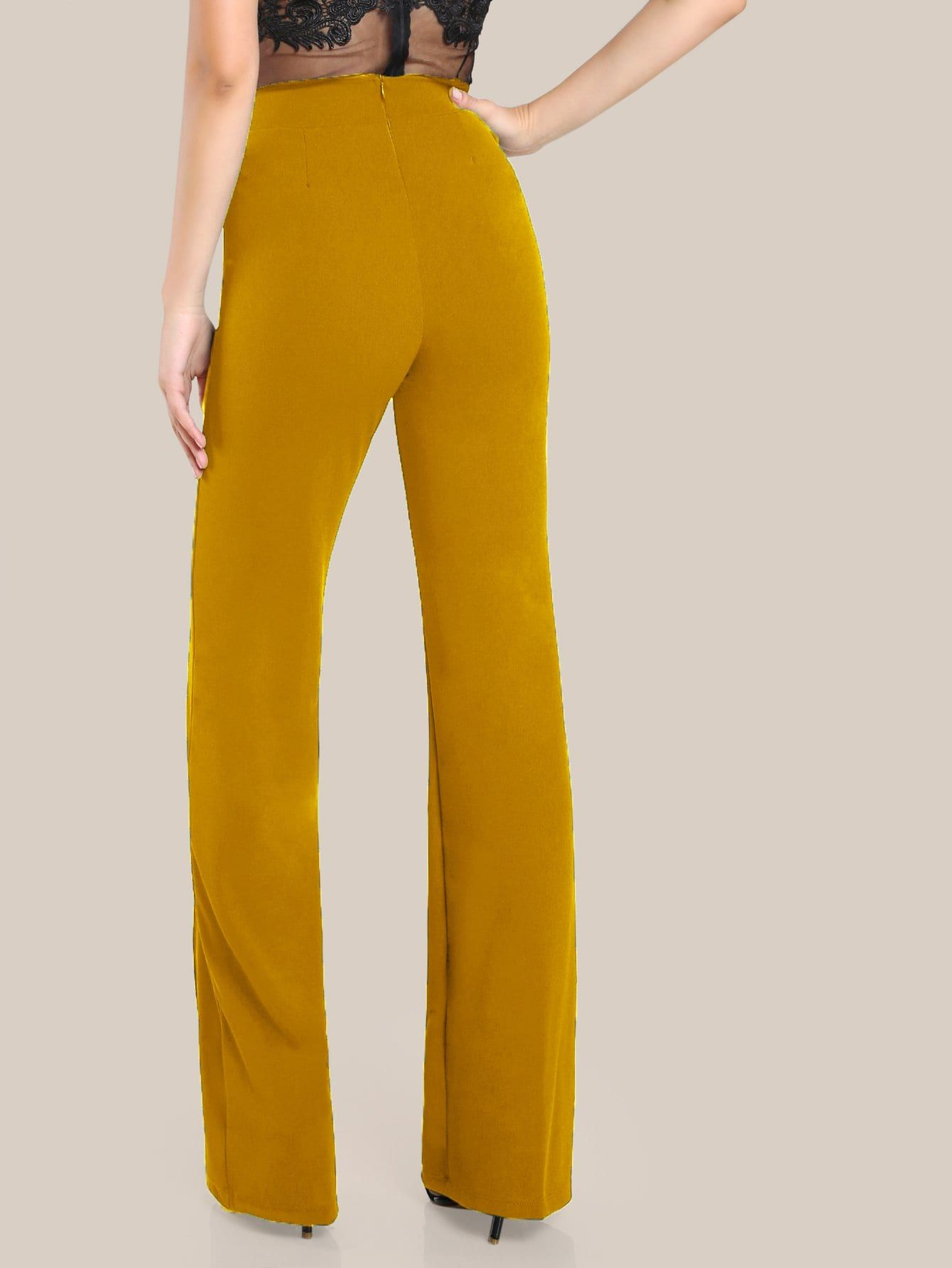 d130bfe52f241f Elegant Zipper Plain Wide Leg Regular Zipper Fly High Waist Ginger Long  Length High Rise Piped Dress Pants