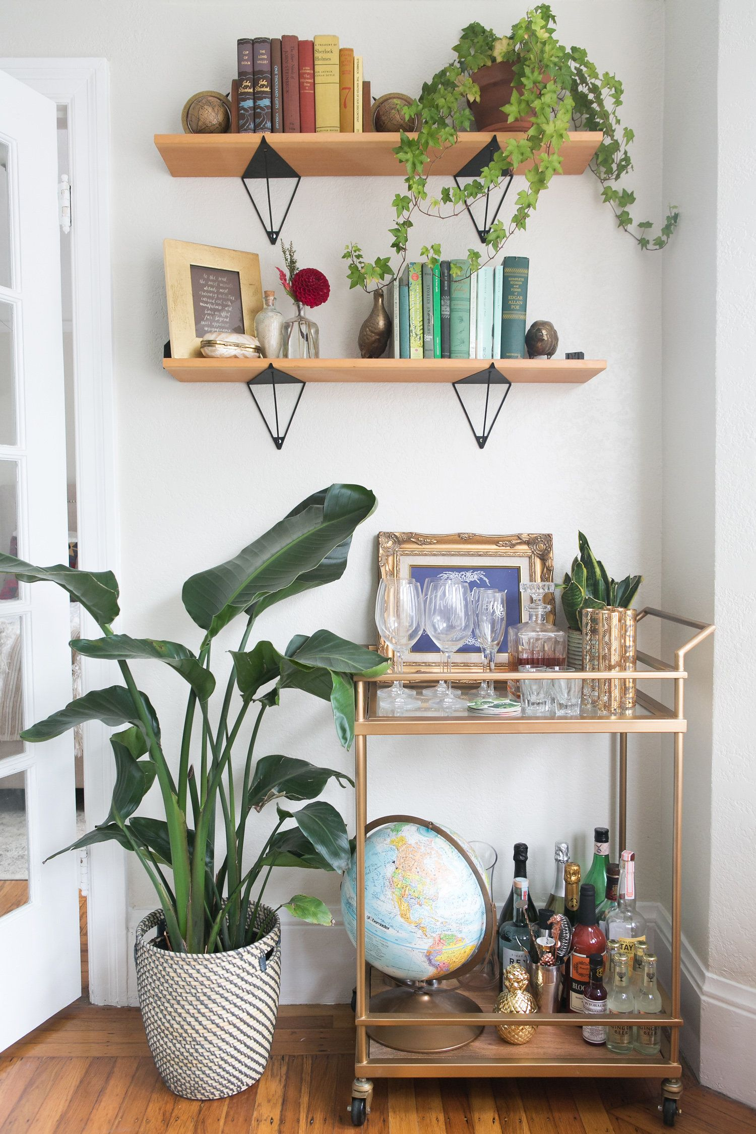 Bar cart and shelves / @theeverygirl home tour | HOUSE & HOME ...