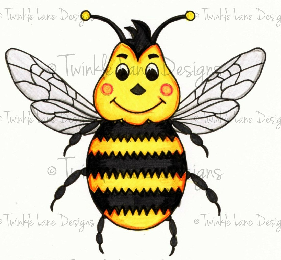 male bumble bee digi stamp bee character insect colouring page