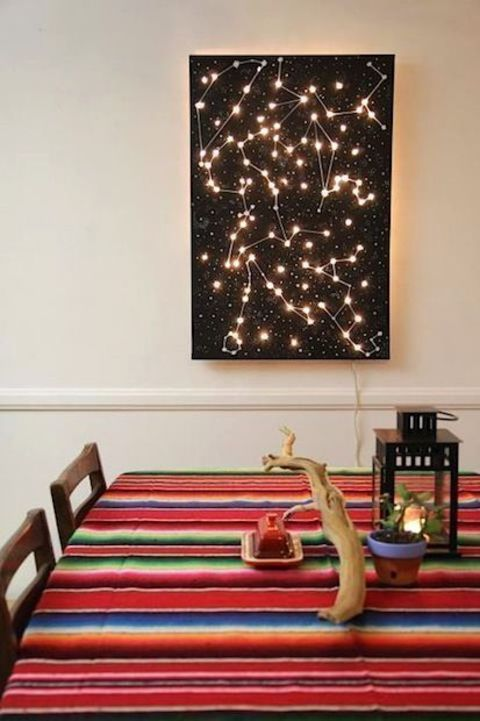 Love The Colorful Table Cloth, With Dark Wall Art. Add A Bit Of Starry,  Twinkly Awesomeness To Your Home Decor With This DIY Lighted Constellation  Wall Art ...