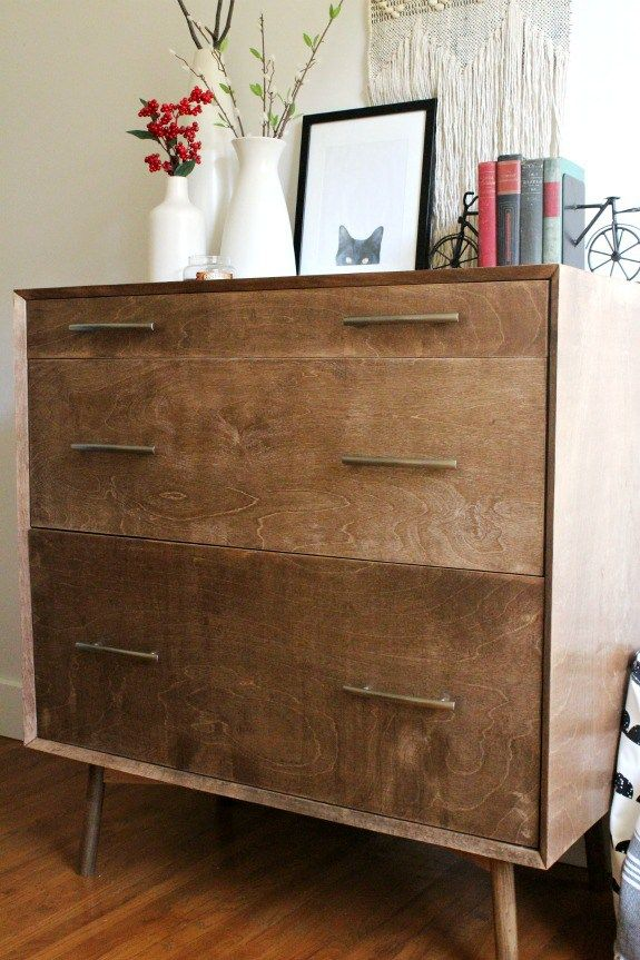 How To Make A Diy Mid Century Dresser Base With Round Legs Mid Century Dresser Mid Century Modern Furniture Dresser As Nightstand