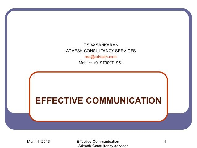 Effective Communication Training Module  Effective Communication