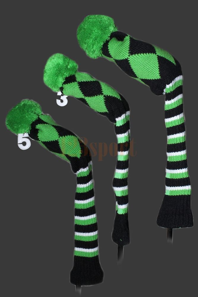 3pc Green Wool Knit Golf Club FW Driver Headcover Covers1# 3# 5# For ...