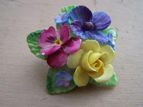Crown Staffordshire England Porcelain Floral Brooch