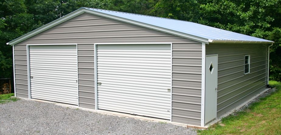 This is a 2 car garage with double doors and side entry