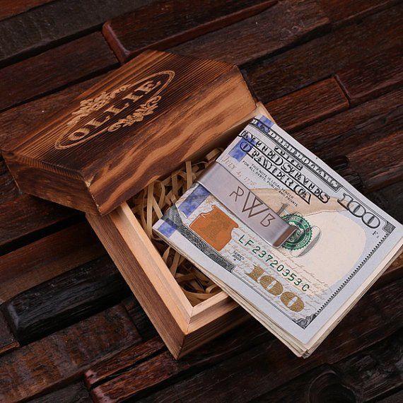 Monogrammed Money Clip – Polished Stainless Steel w/Optional Wood Box