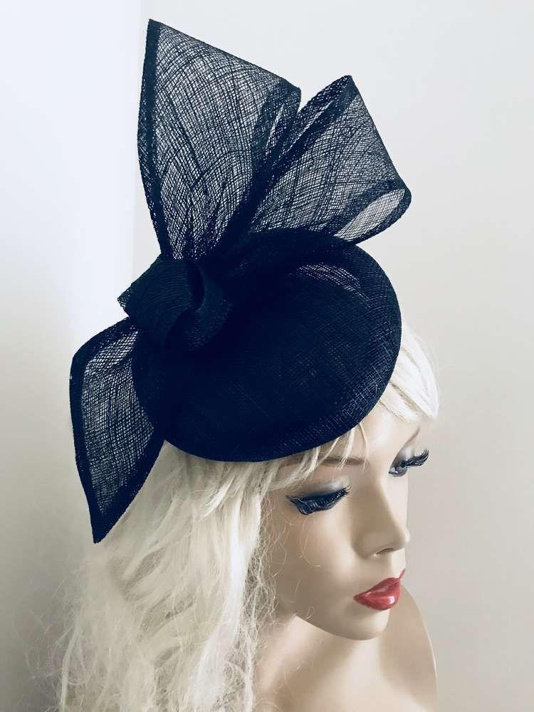 615536aad9120 Navy Bow Pillbox Fascinator hat