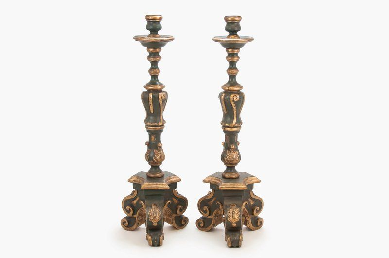 PAIR OF SPANISH COLONIAL BAROQUE STYLE PAINTED : Lot 0247