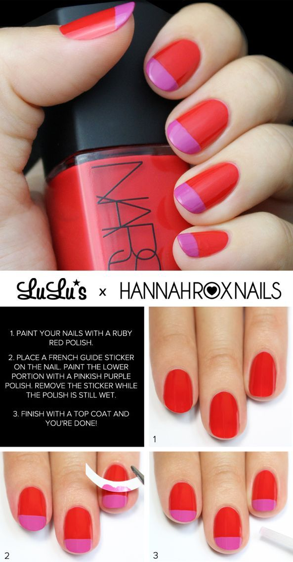 Mani Monday Ruby Red And Pink French Nail Tutorial Pink French Nails French Nails Chic Nail Art