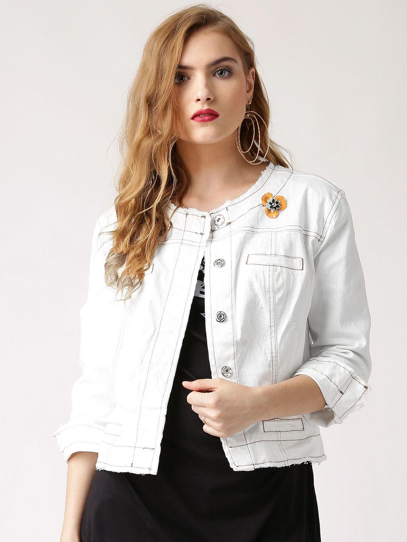 Rinascimento White Denim Jacket White denim jacket