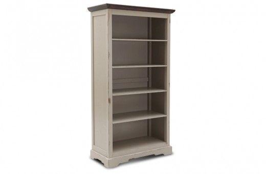 Bücherschrank Estepona - Akazie massiv - taupe mit messingfarbenen ...
