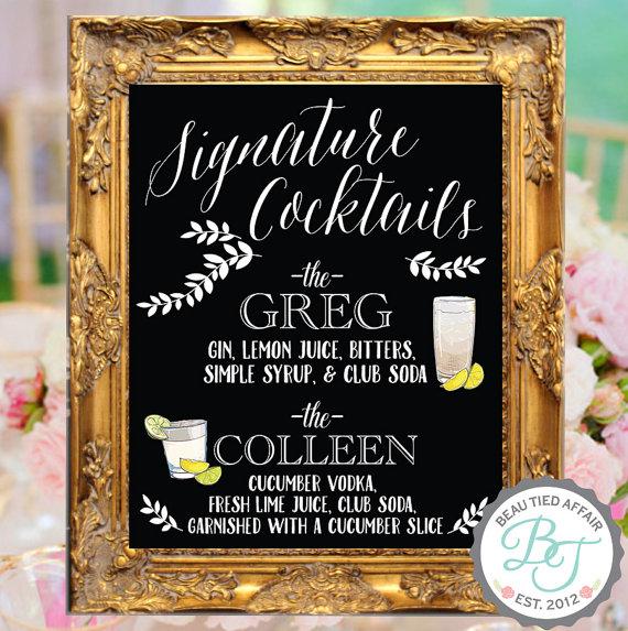 Signature Cocktails Wedding Chalkboard Bar Menu • Bride