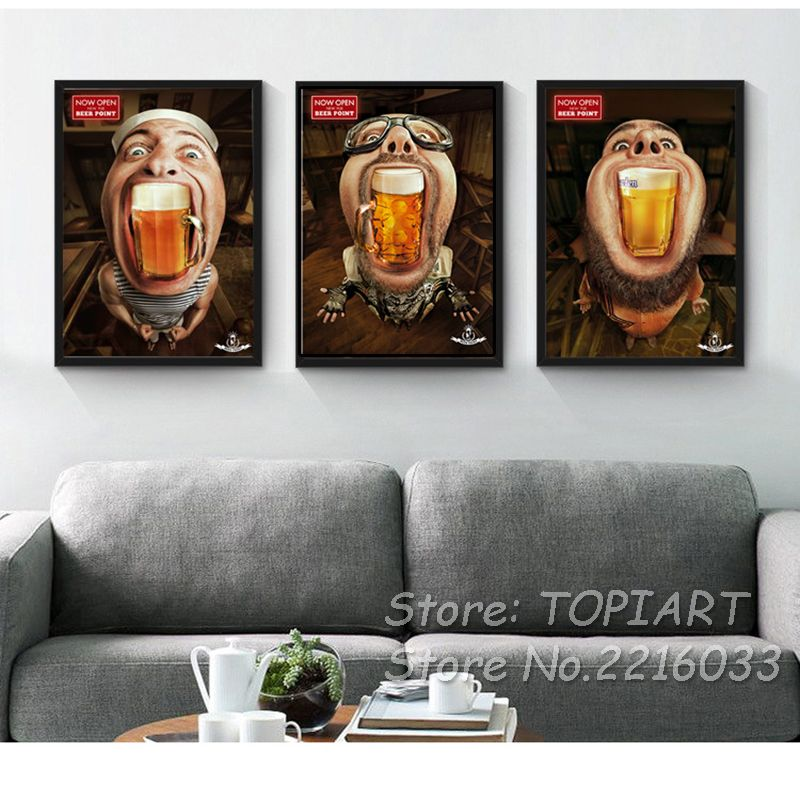 Fashionable Men Beer Point Paintings Modern Creative Canvas Prints Posters  Wall Art Picture Bar Restaurant Room