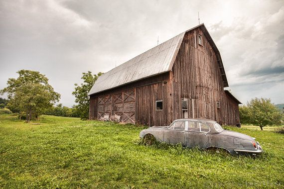 Old Car and Barn Photograph Vintage Jaguar by garyhellerphotograph ... our old car out in the field was a gunmetal grey '49 Buick