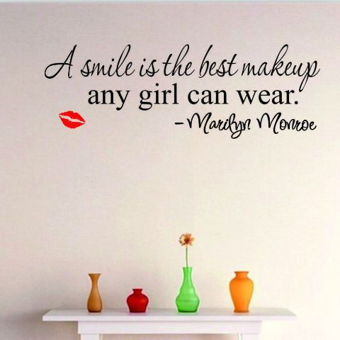 A Smile Is The Best Make Up Quotes Wall Decal Quote Wall - How do i put up a wall sticker