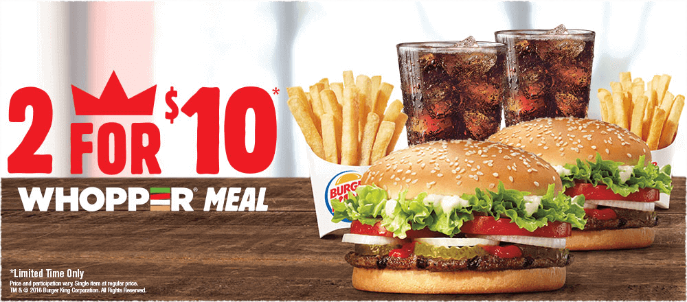 2 For 10 Whopper Sandwich Combo Meal Deal Limited Time Only Burger Delicious Burgers Whoppers