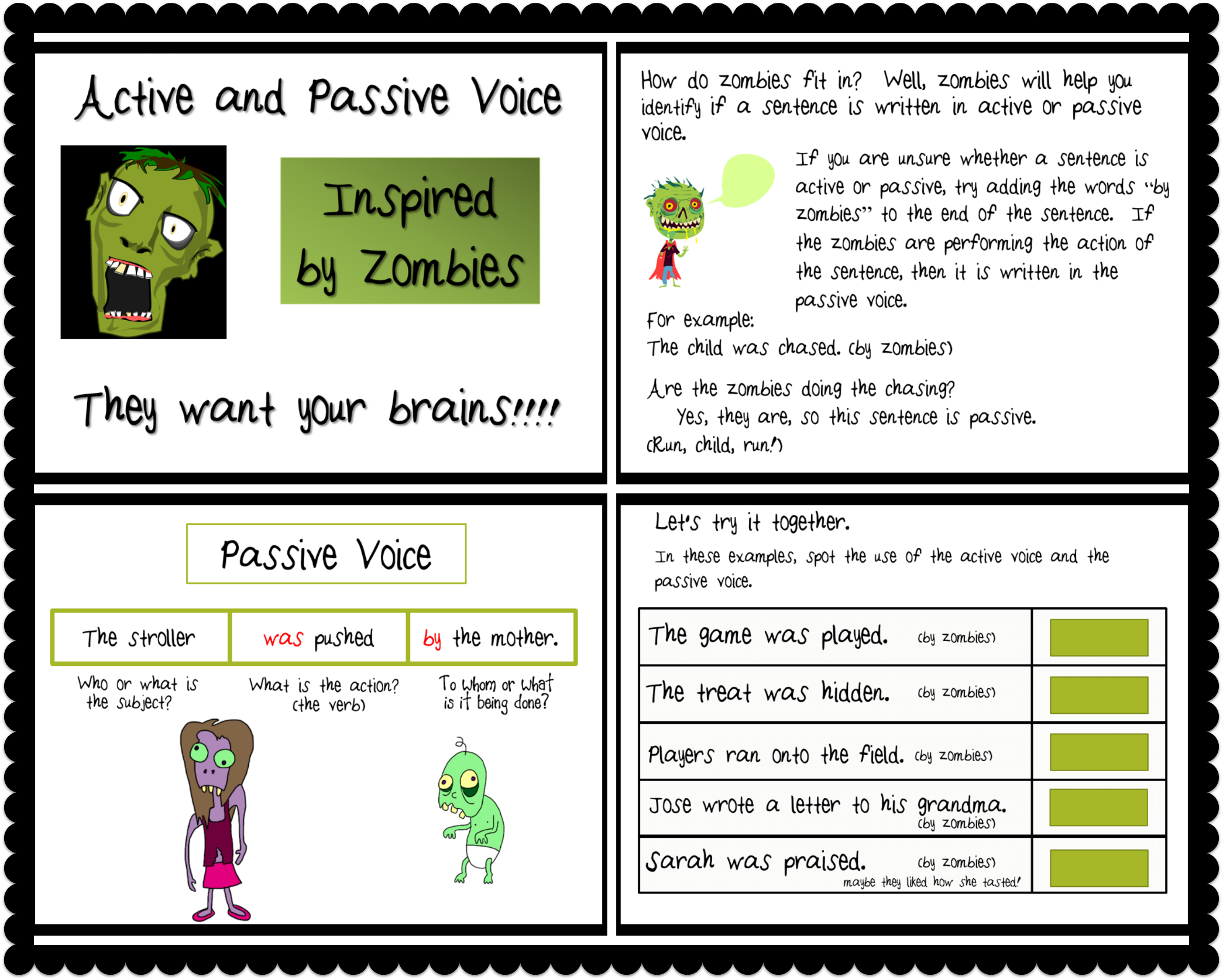 Active and Passive Voice with Zombies PowerPoint   Student, The o ...