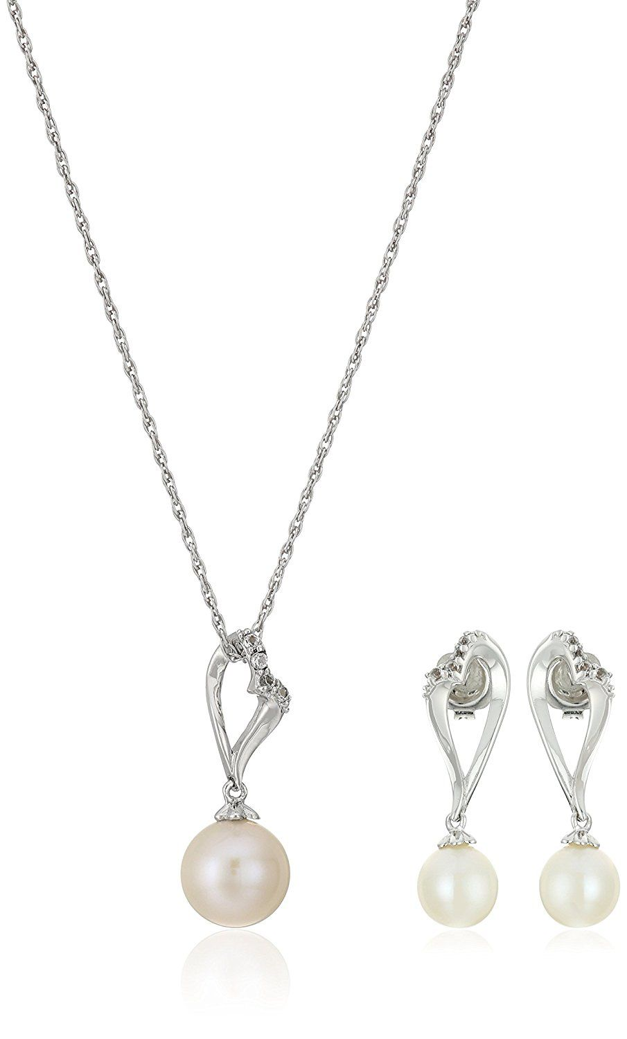 Sterling silver pearl and white topaz pendant necklace and earrings