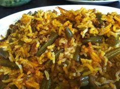 lubia polo loobia polo vegetarian green beans saffron cinnamon basmati rice delicious tasty Persian food