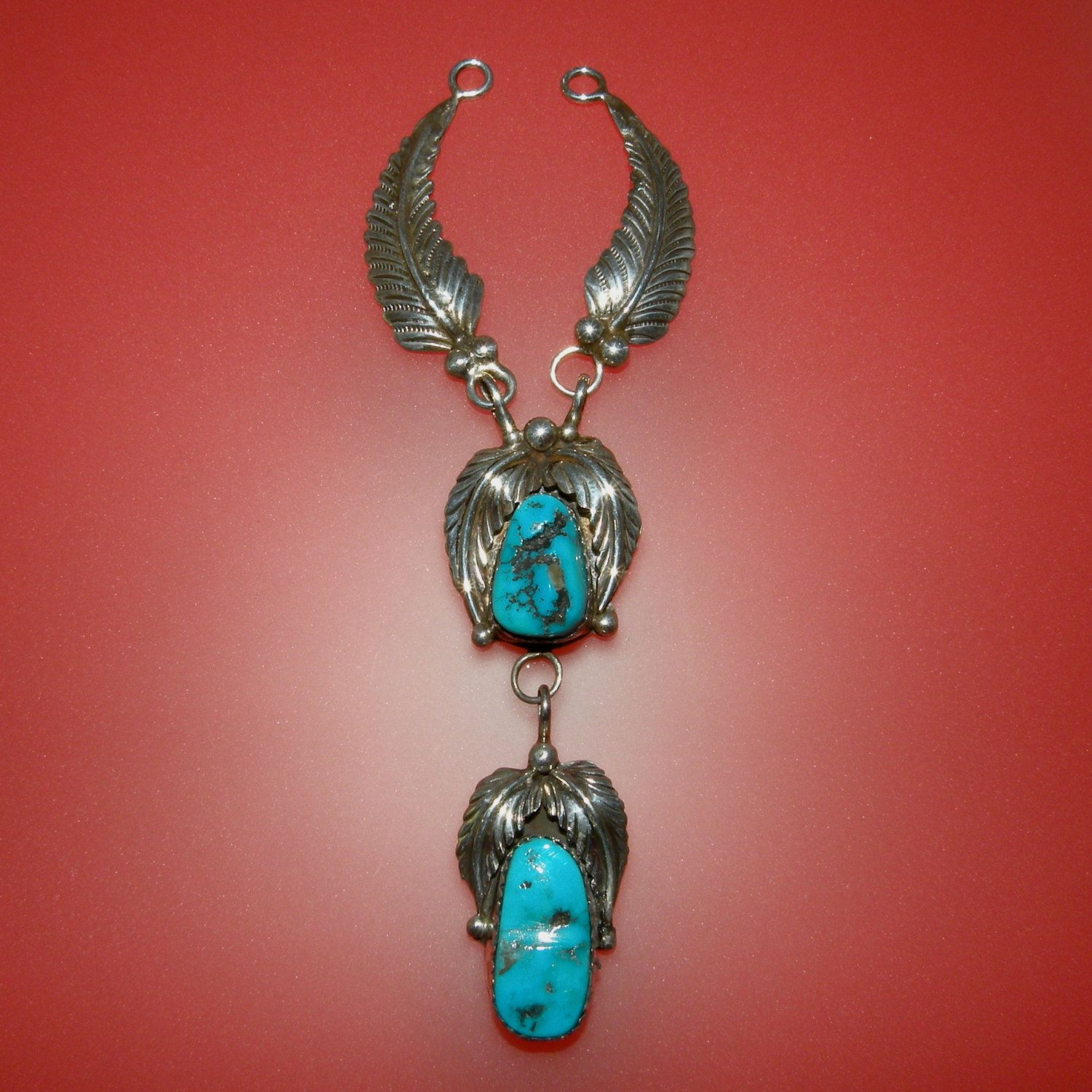 Vintage Kingman Turquoise in Silver Hand Crafted Indian Jewelry Pendant, free U.S. shipping. $58.00, via Etsy.