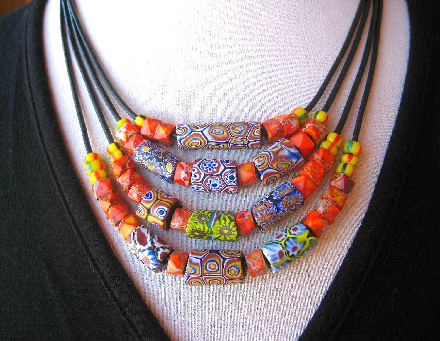 African Trade Bead Necklace, Tribal Ethnic Multi Strand Statement Necklace, Ethnic Jewelry