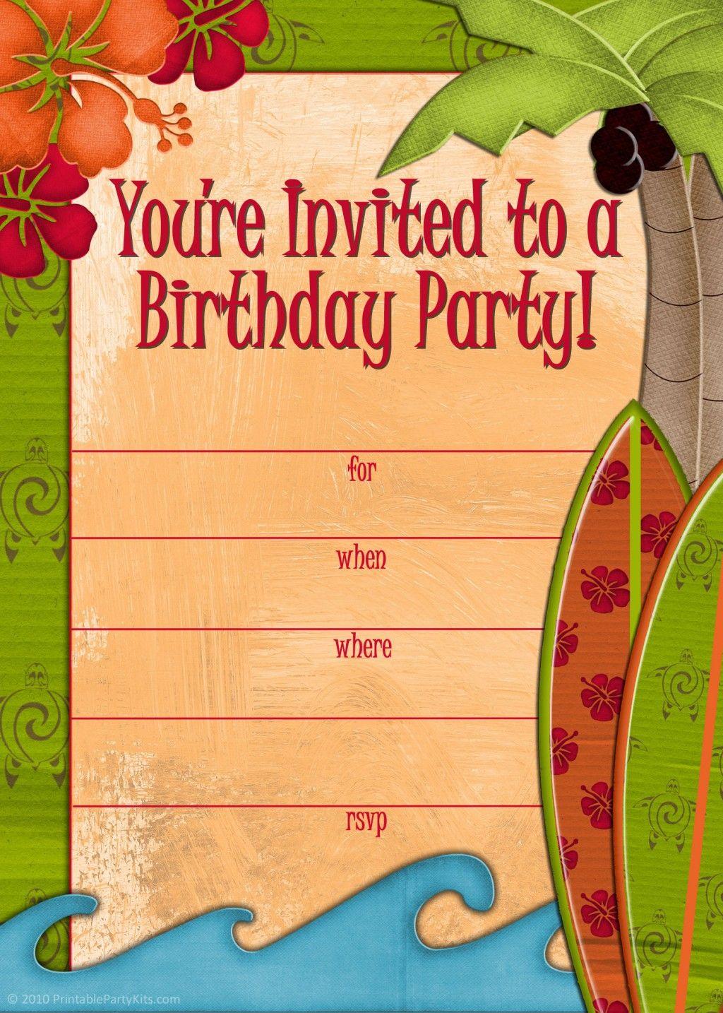 Free Printable Beach Party Luau And BBQ Invitations Templates - Beach birthday invitation templates
