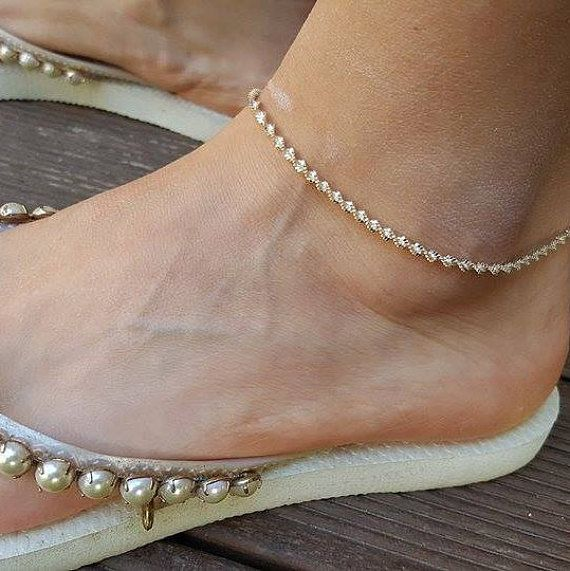beaded diamond anklet white n cut gold chain