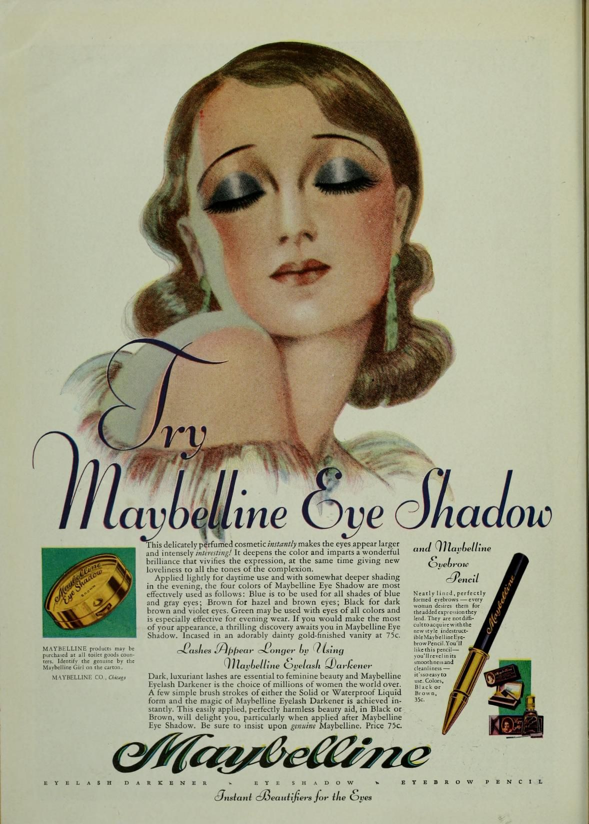 1920s Maybelline Eye Shadow Vintage makeup ads, Vintage