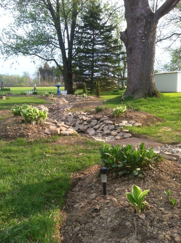 dry creek bed in backyard landscaping