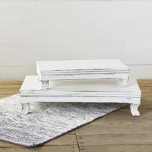 Photo of LARGE Rectangular White Wash Risers, Set of 2