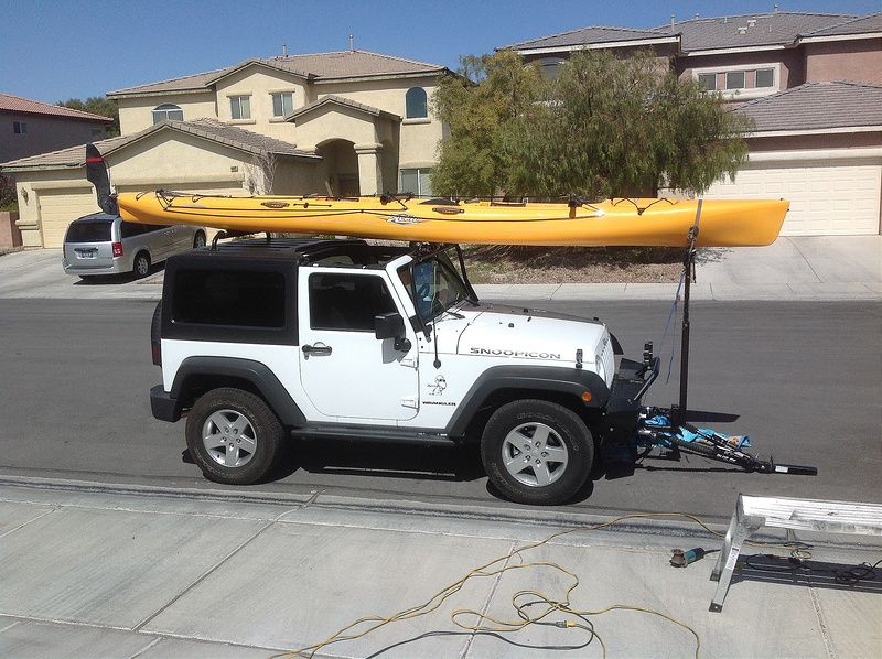 Transporting A Kayak On The Jeep Jeep Wrangler Forum Canoe Gear Kayaking Jeep Wranger