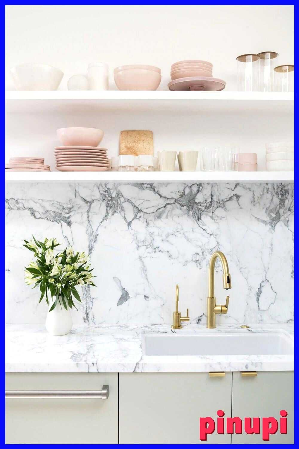 6 Reasons To Choose Open Kitchen Shelves Instead Of Cabinets 6 Reasons To Choose Open Kitchen Shelves Instead Of Cabinets Here S Why You Should Make The Switch Open Kitchen Shelves Instead Of Cabinets Bright Kitchen With Marble Backsplash White Open Shelves And Pretty Glass Tableware Nonagon Style