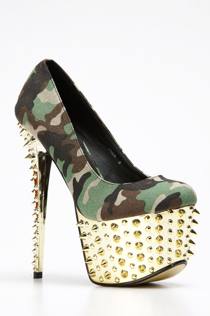 Red Kiss Camouflage Spike Heels @ Cicihot Heel Shoes online
