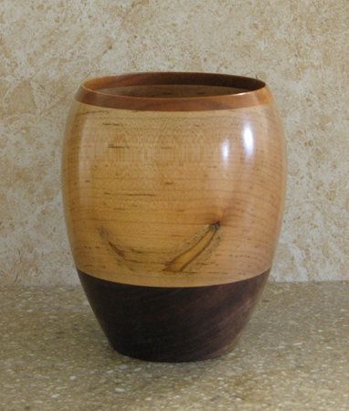 Bowl made of cherry, maple, and walnut