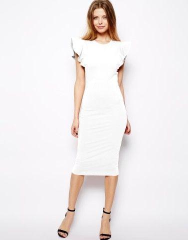 ASOS   ASOS Body-Conscious Dress With Structured Ruffle Sleeve at ASOS   Keep.com