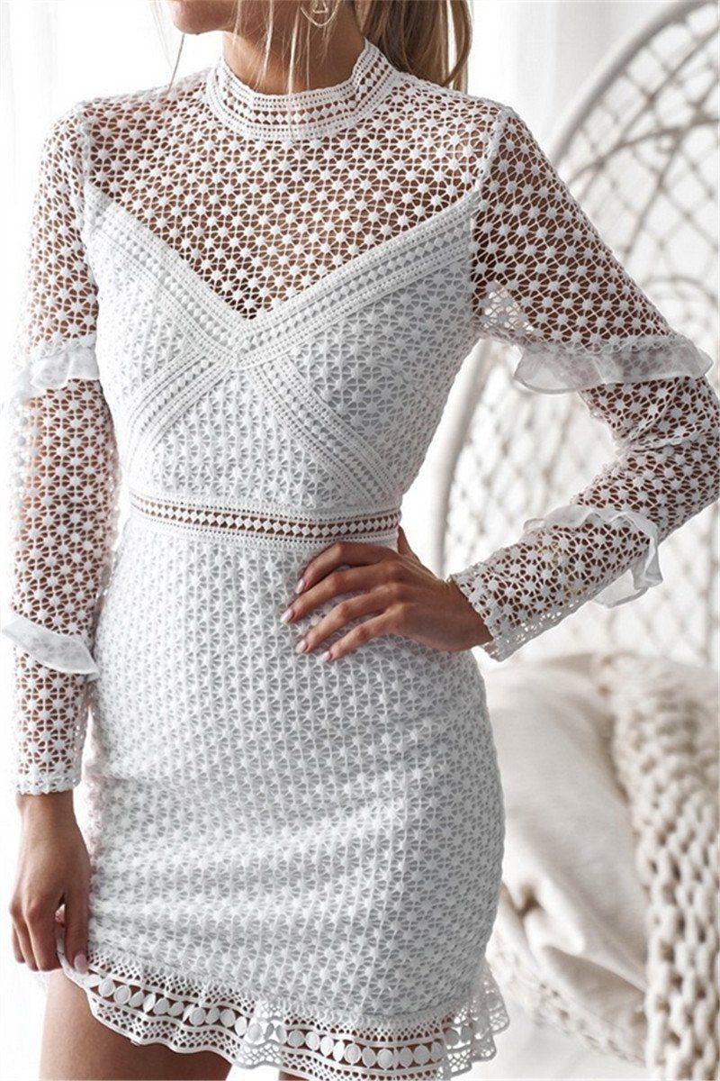 Shyoin White Ruffle Trim Long Sleeve Lace Bodycon Mini Dress Long Sleeve Dress White Lace Long Sleeve Dress Lace White Dress [ 1200 x 800 Pixel ]
