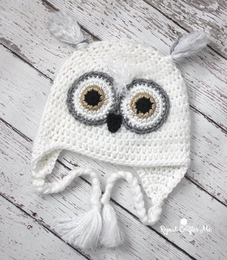 Crochet Snowy Owl Hat (Repeat Crafter Me) | Gorros, Gorro tejido y ...