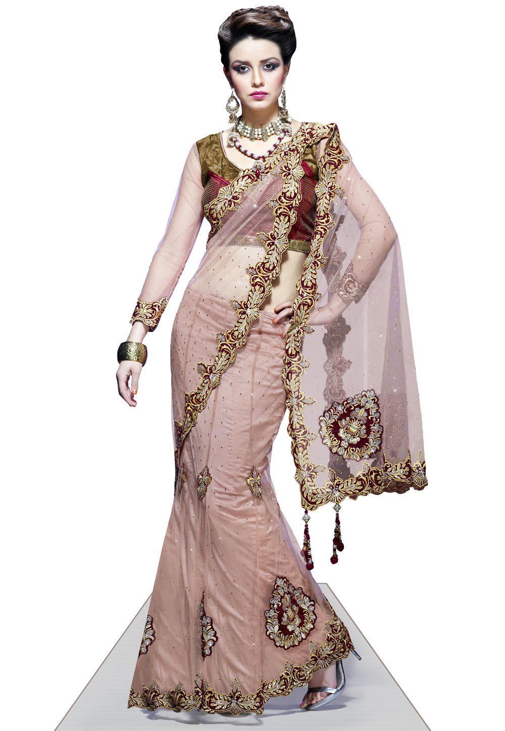 Peach Net Lehenga Style Saree With Blouse 155 30 Lehenga Style Saree Party Wear Sarees Lehenga Saree