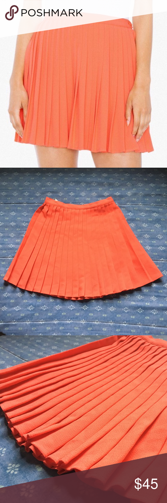 a52ef8e60d American Apparel Crepe Sunburst Pleated Skirt This coral skirt has all-over  pleats, a high waist, and button & zipper closure. New with tags--never  been ...