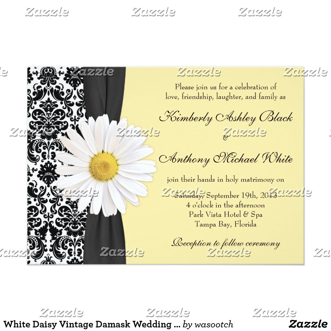 White Daisy Vintage Damask Wedding Invitation The Text On This Chic