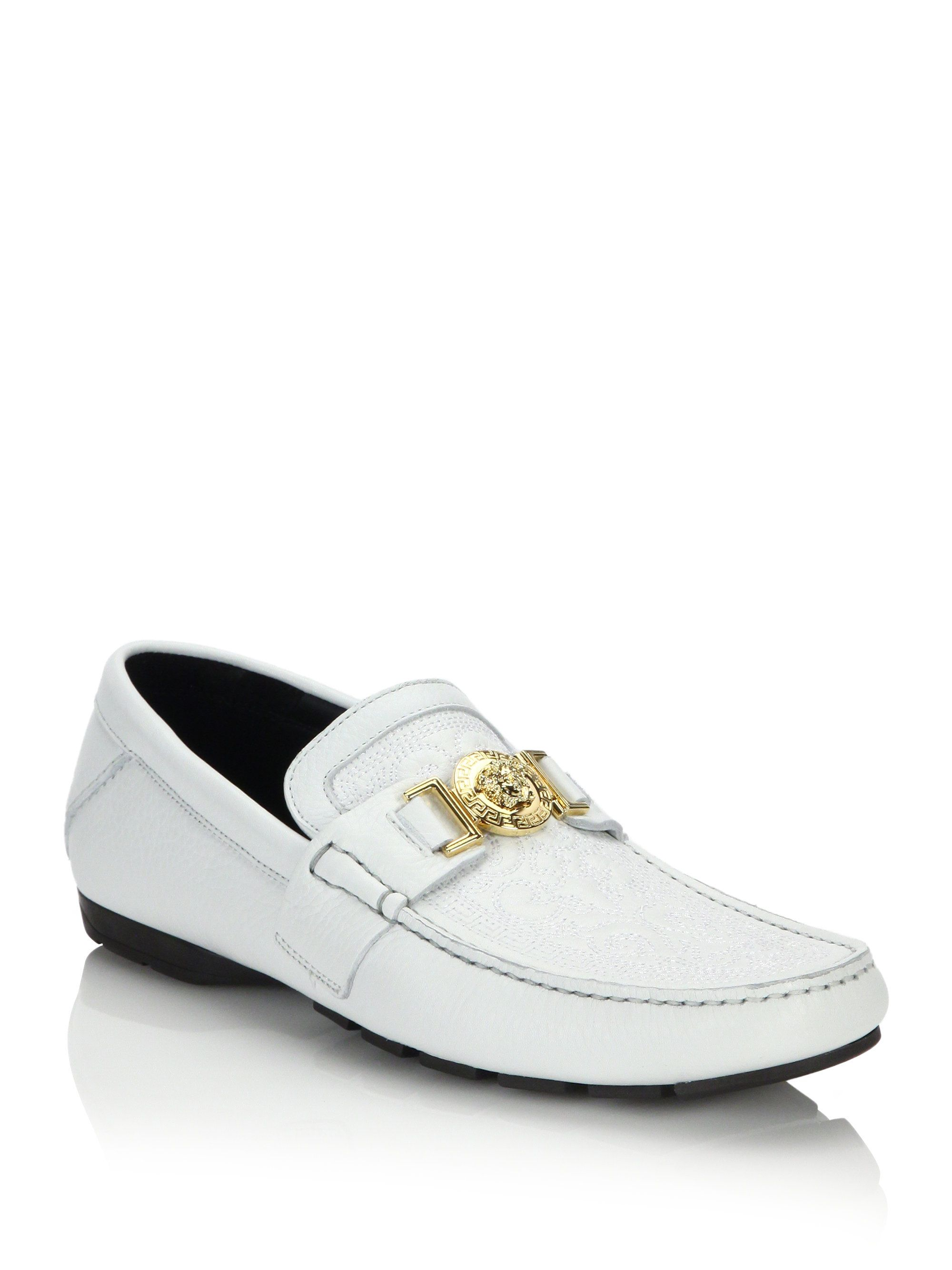524ff7768a Versace Men Shoes White with Gold | Versace Vanitas Stitched Leather Loafers  in White for Men (white-gold)