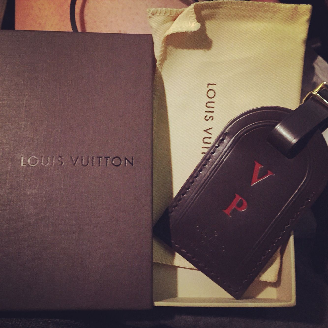 308a485497a HAVE  Dark Brown Louis Vuitton Luggage Tag  ) love the red hot stamp ...