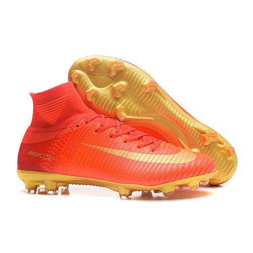 sports shoes 01d5e e47a6 ナイキサッカースパイク マーキュリアル スーパーフライ V CR7 FG レッド・ゴールド - サッカーユニフォーム専門