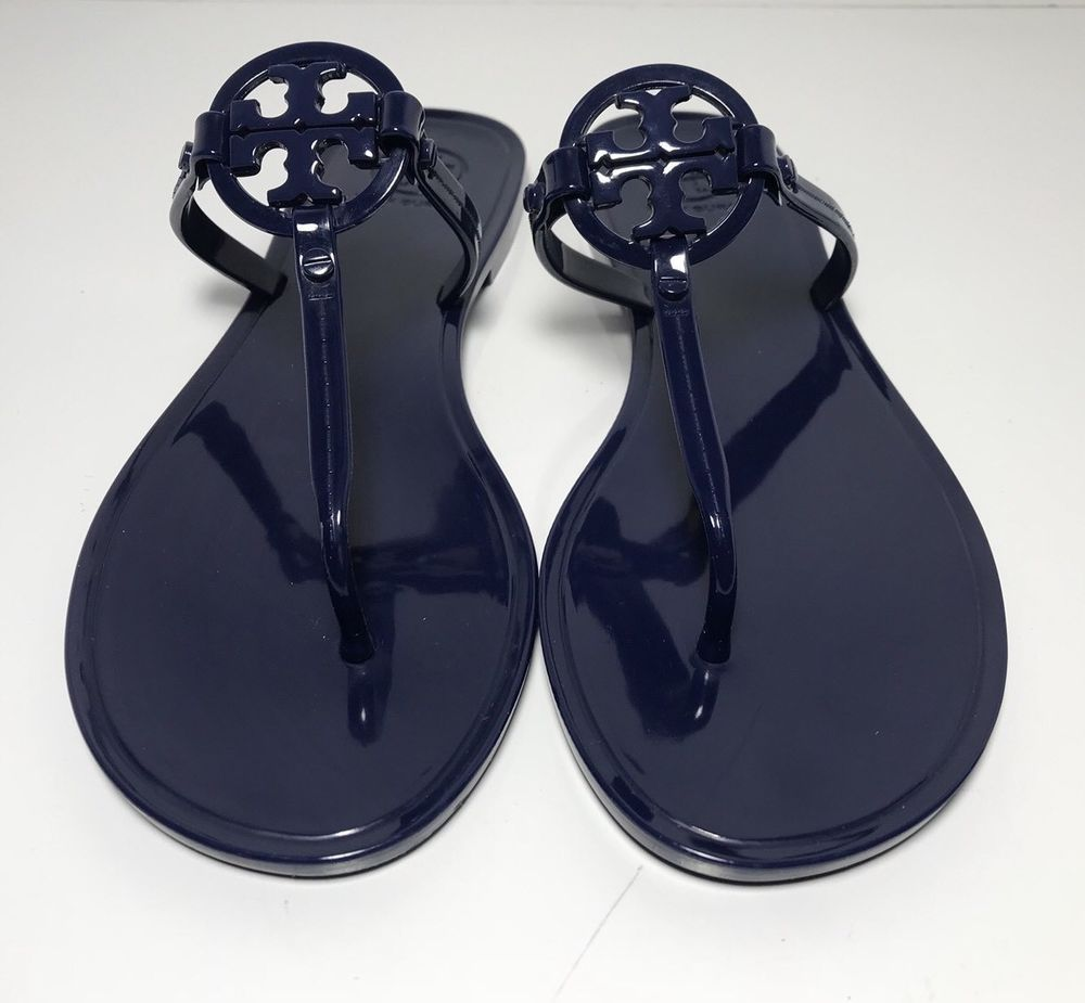 c2cfad209 Tory Burch Mini Miller Navy Blue Jelly Flat Sandals Womens Size 7 M ...