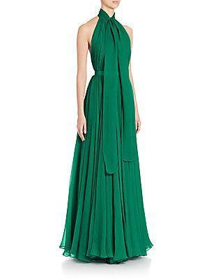 Alexander McQueen Silk Creponne Halter Tie Neck Gown | TBM ...