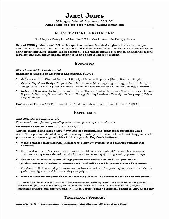 Electrical Engineering Resume No Experience Lovely Entry Level Electrical Engineer Sample Res In 2021 Engineering Resume Engineering Resume Templates Internship Resume