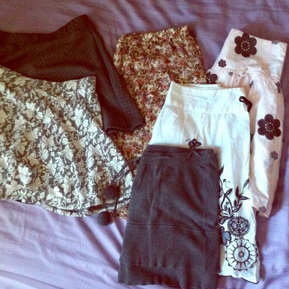 Skirt Bundle Only skirt thats not a large is the Pom Pom grey skirt (size XL, but fits like a large). Brands: Forever 21, candies, my Michelle, old navy and Fanny Fashion (made in Korea) Forever 21 Skirts