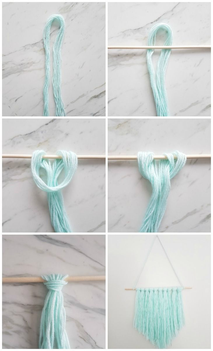 How to make an easy diy wall hanging with yarn diy wall for Yarn wall hanging